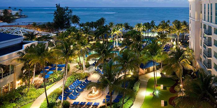Ritz Carlton San Juan, outdoor space, night lighting